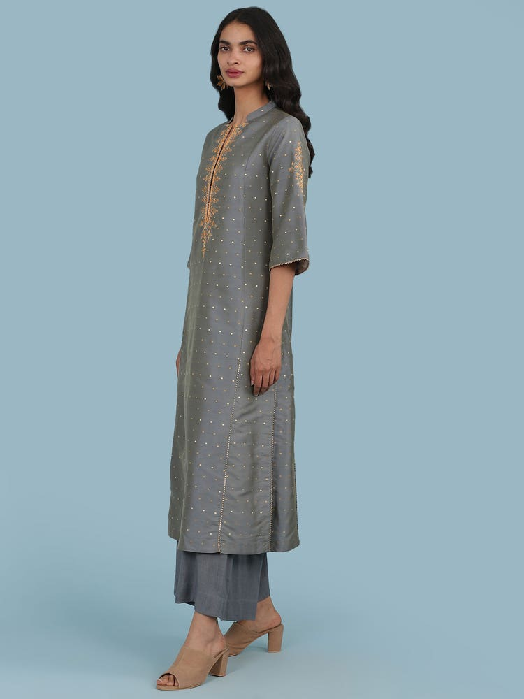 Grey Embroidered Suit Set