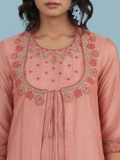 Pink Embroidered Suit Set
