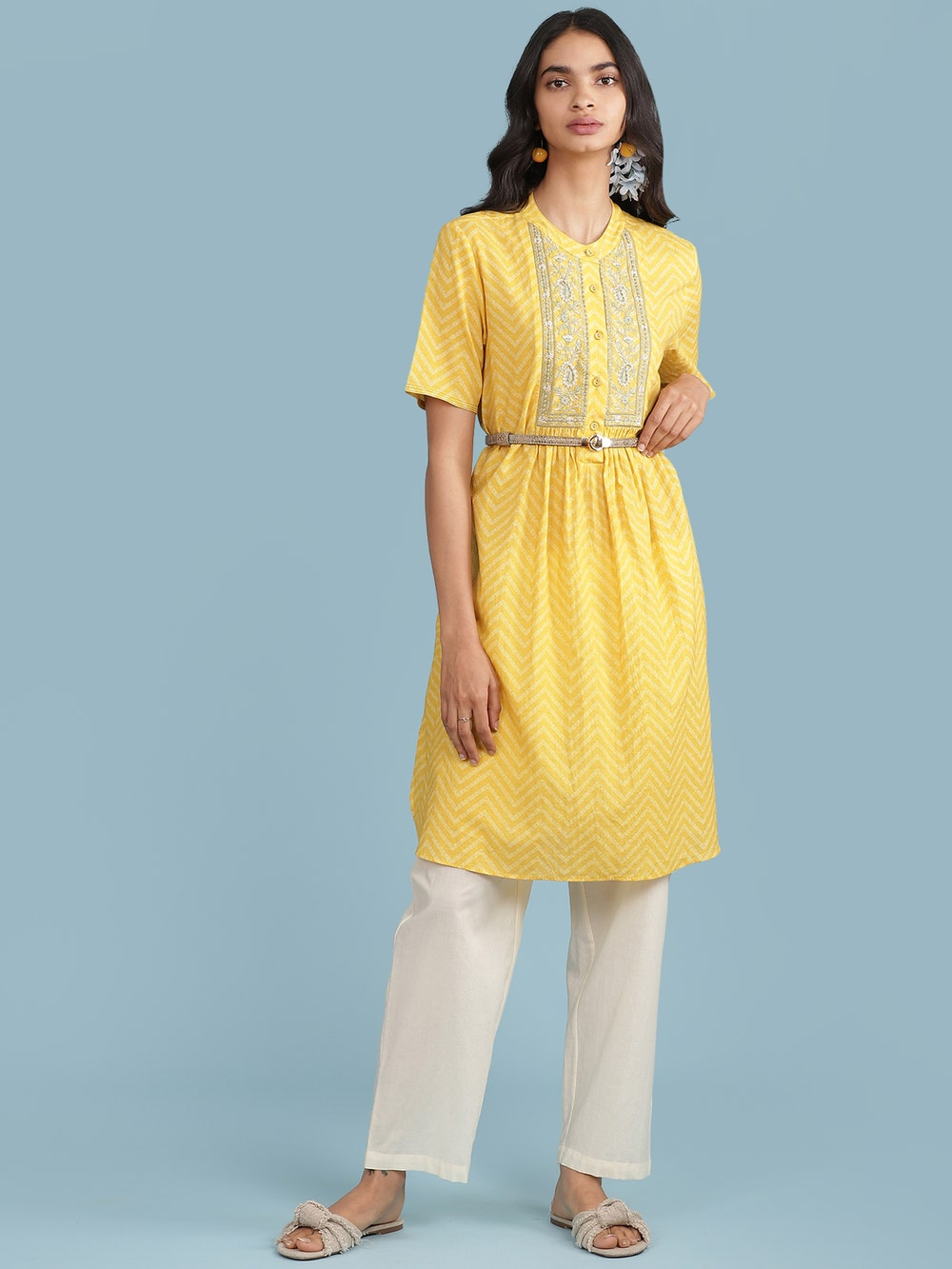 Yellow Embroidered Kurta with Trousers