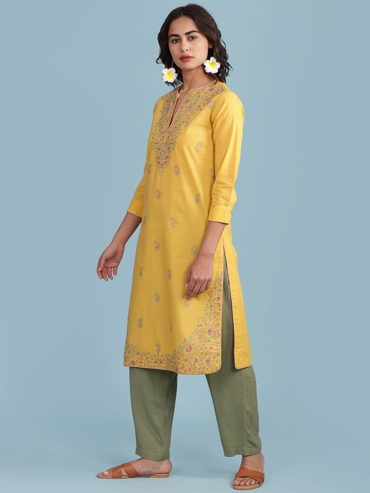 Yellow Embroidered Kurta Set