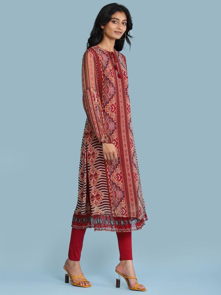 Red Printed Kurta Set
