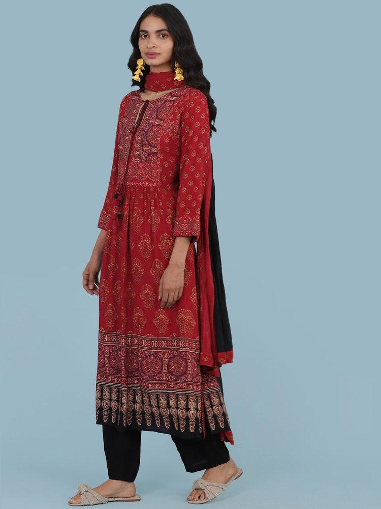 Red Floral Print Suit Set