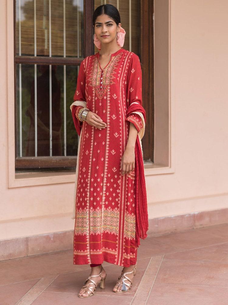 Red Printed Suit Set