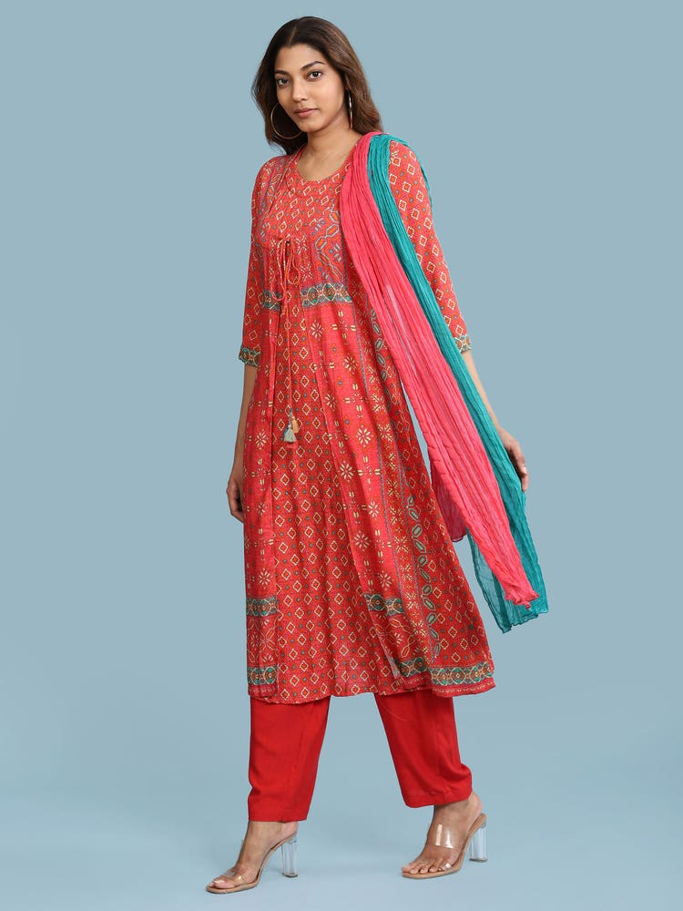 Red Geometric Print Suit Set