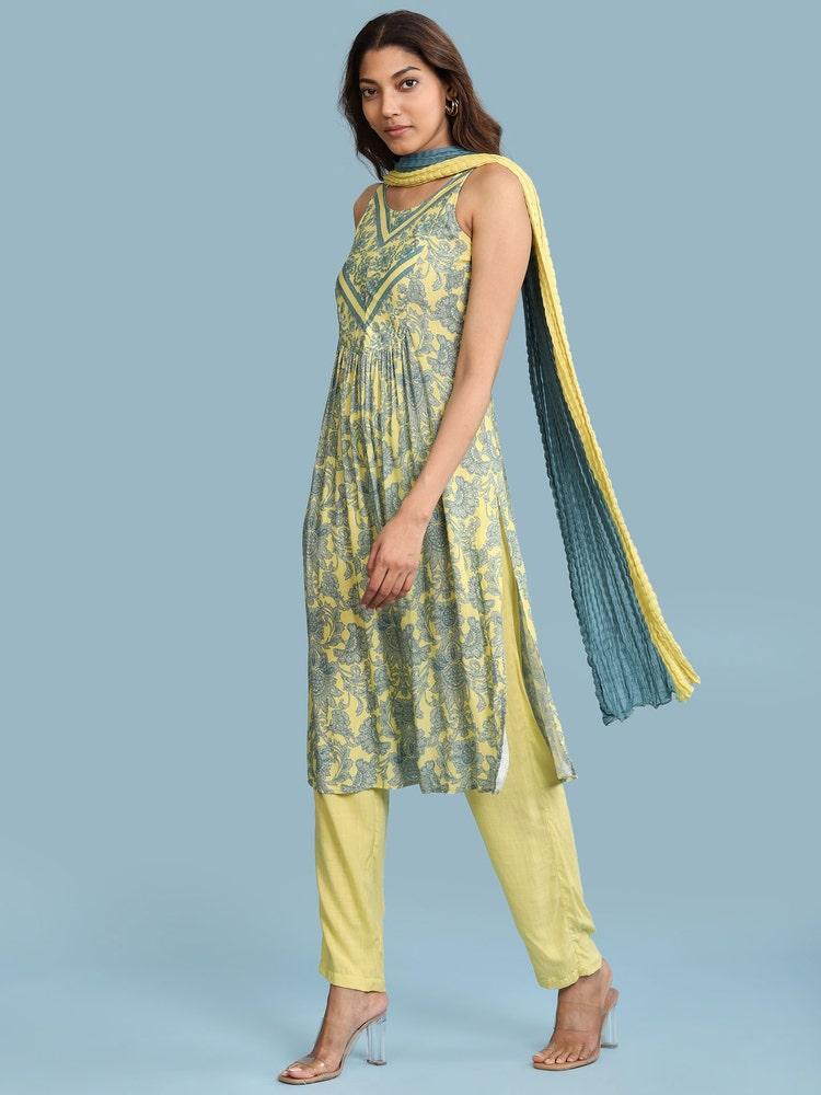 Yellow Floral Print Suit Set