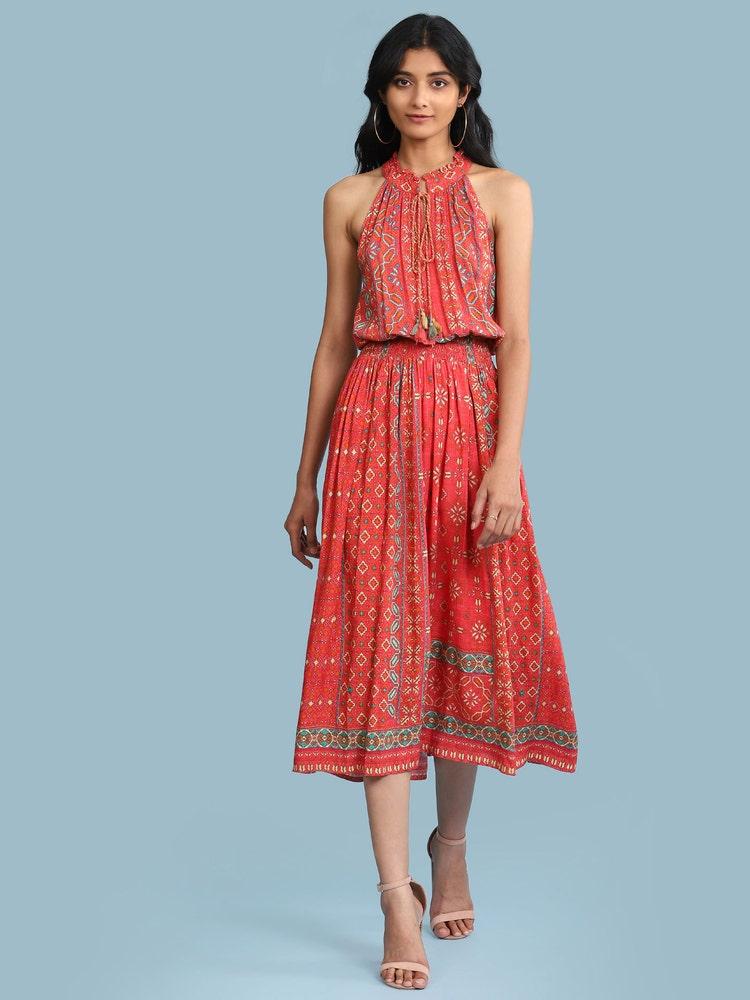 Red Printed Blouson Midi Dress