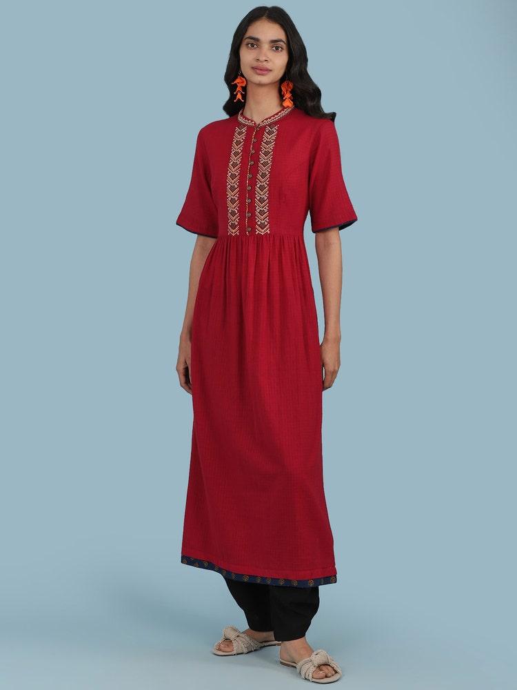 Red Embroidered Cotton Kurta