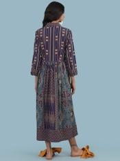 Blue Geometric Shirt Dress