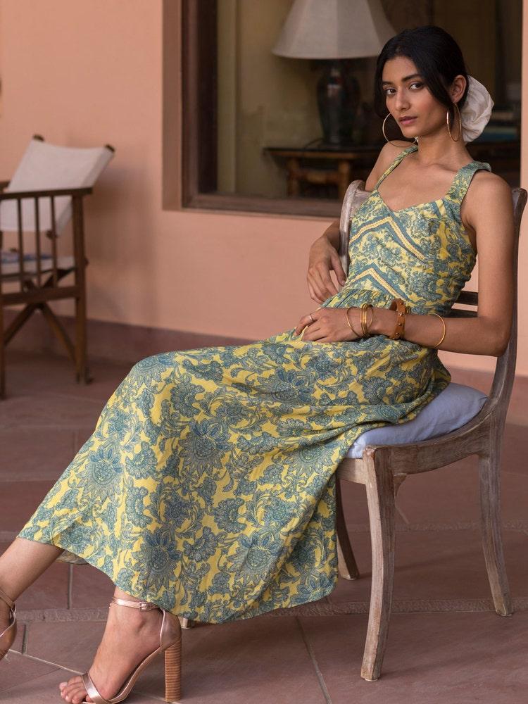 Yellow Floral Print Maxi Dress