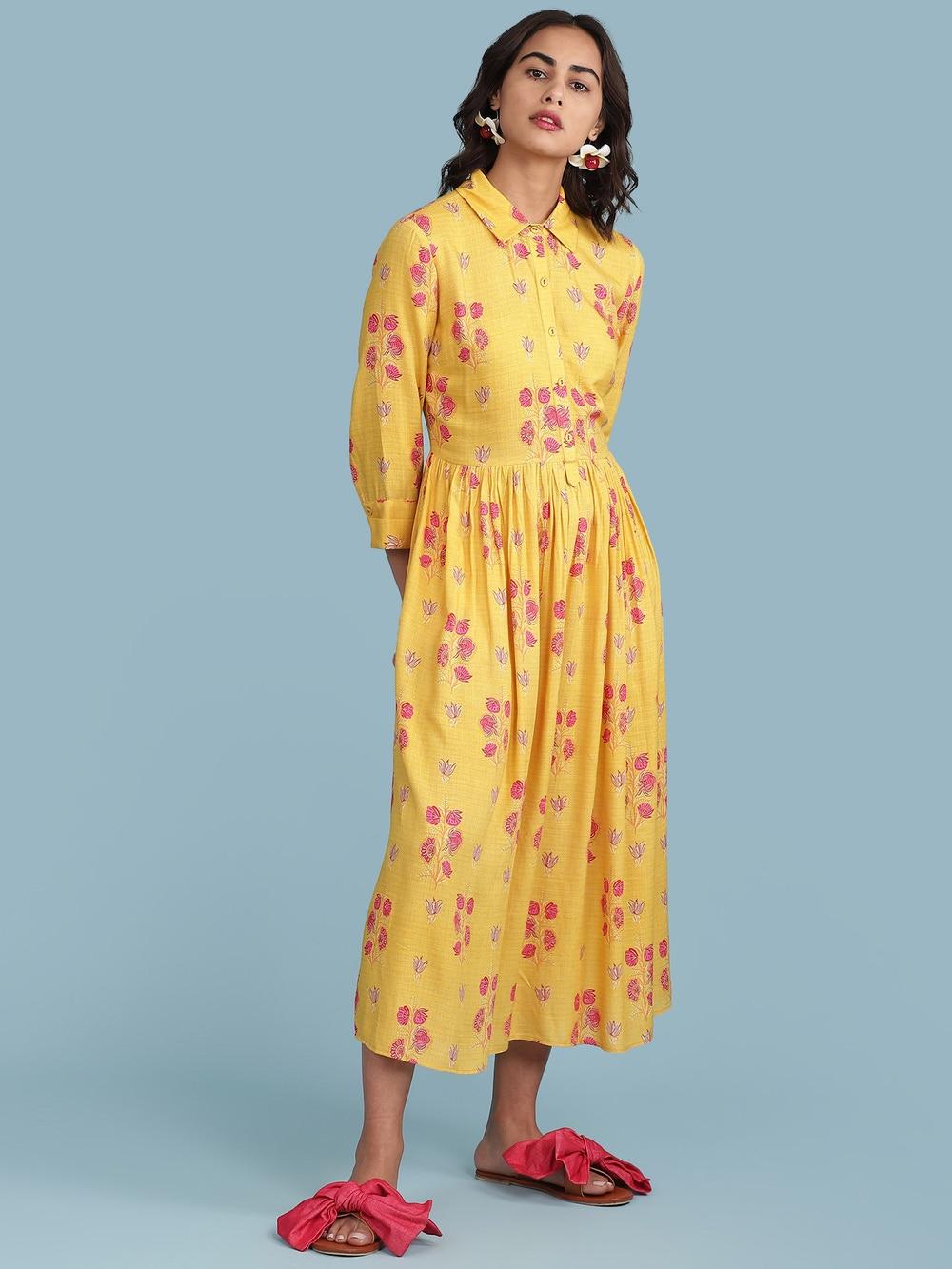 Yellow Floral Print Shirt Dress