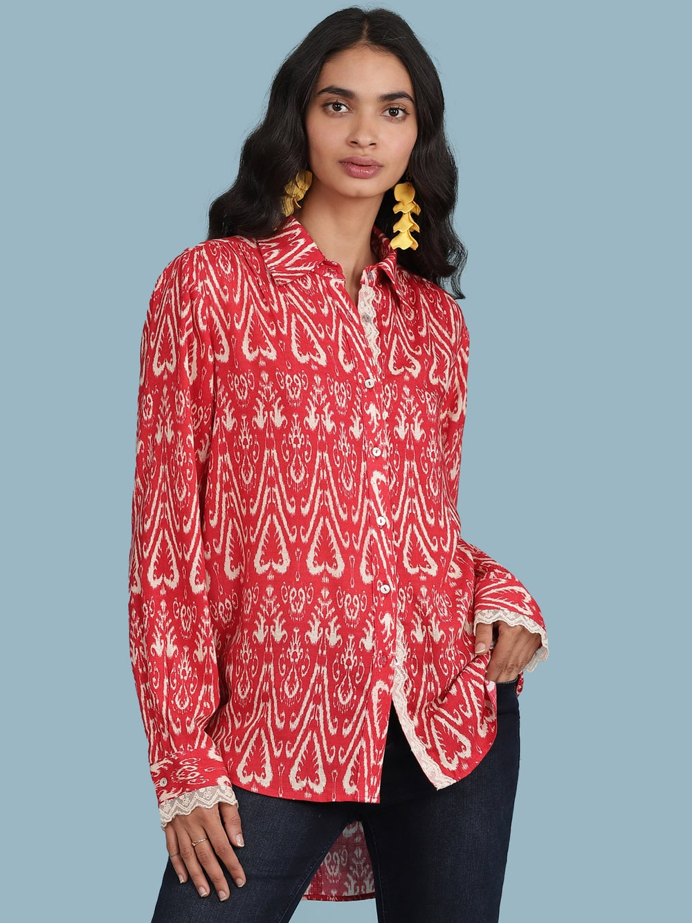 Red Ikkat Print Shirt