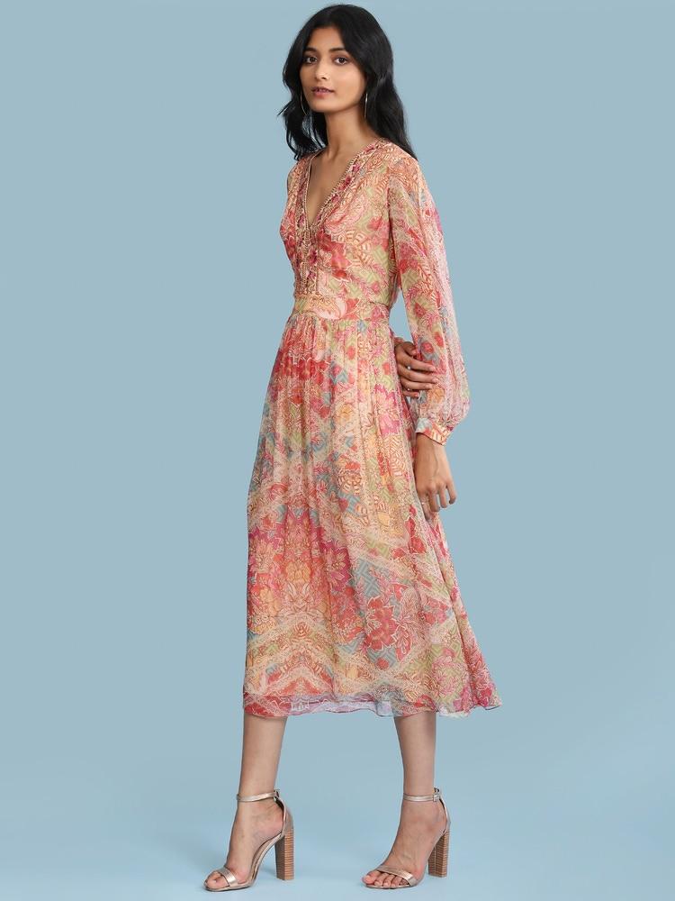 Pink Floral Print Midi Dress