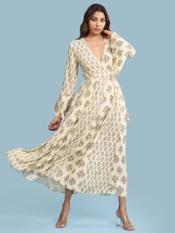 Ecru Printed Maxi Dress