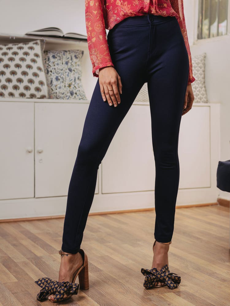 Navy Blue Solid Pant