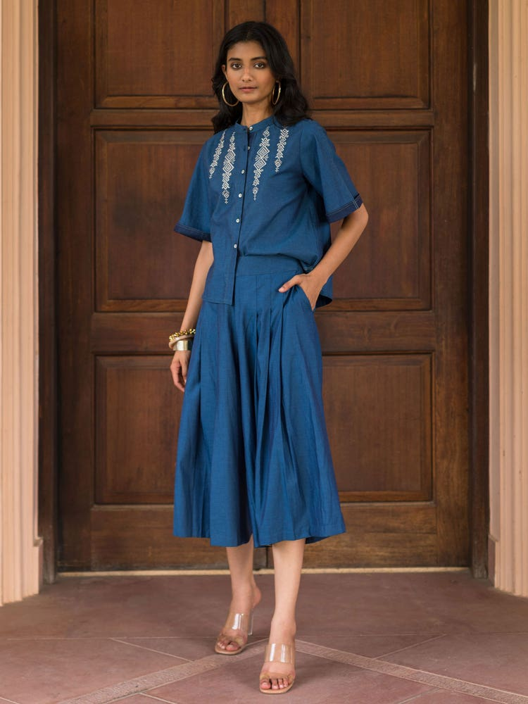 Blue Wide-Legged Palazzos