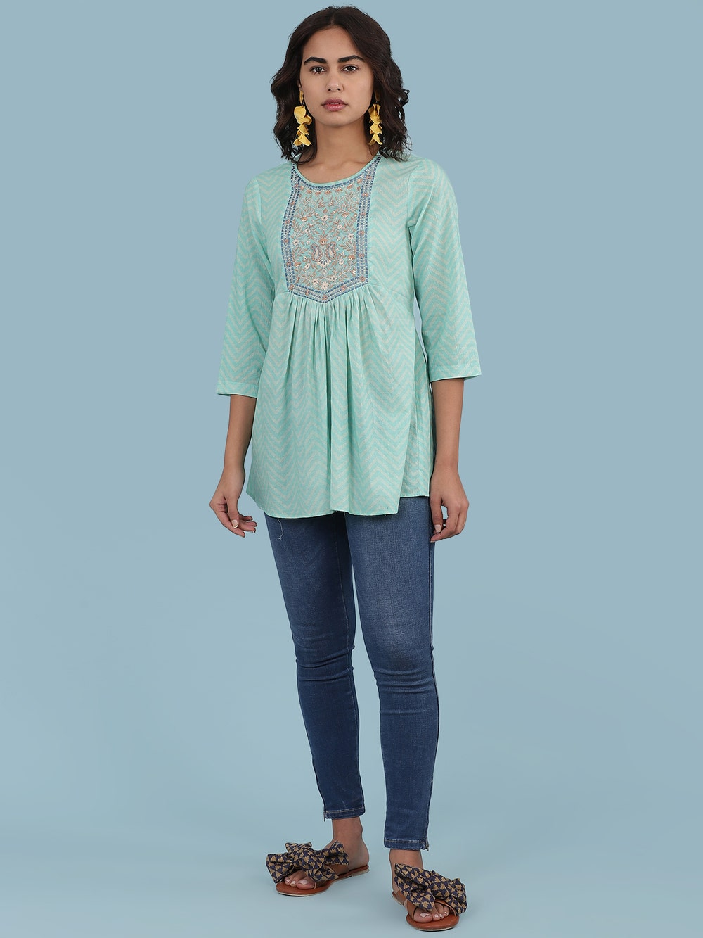 Turquoise Embroidered Kurti