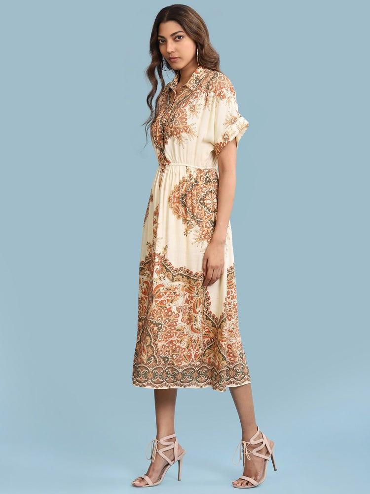 Ecru Printed Long Shirt Dress