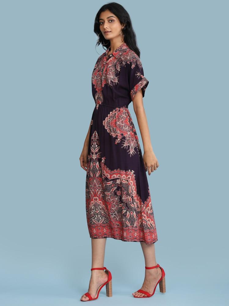 Wine Printed Long Shirt Dress