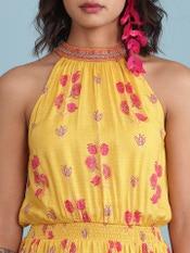 Yellow Floral Print Blouson Midi Dress